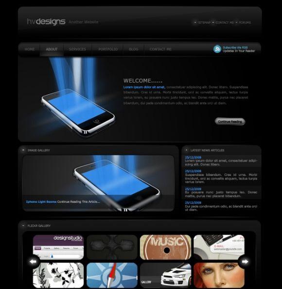Design a dark Style Web Template