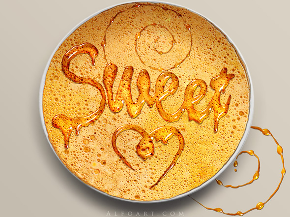 Honey leaking effect on the delicious pancake