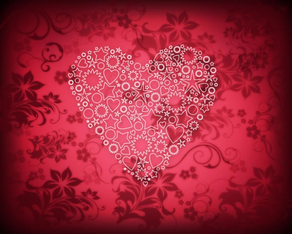 Create elegant Valentine's Day card with ornamental heart