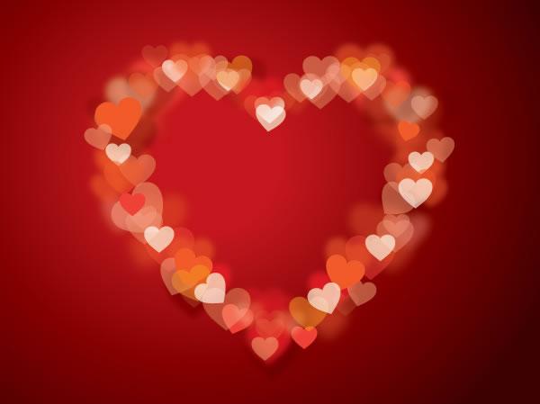 Bokeh Heart Frame Free Vector