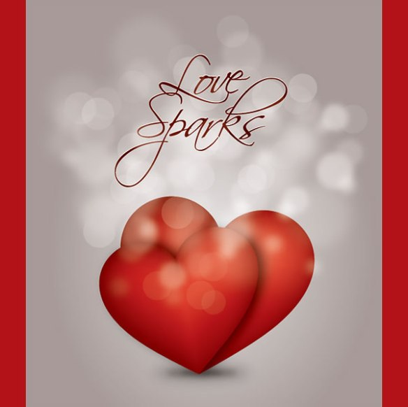 Love Sparks Vector Of 2 Hearts