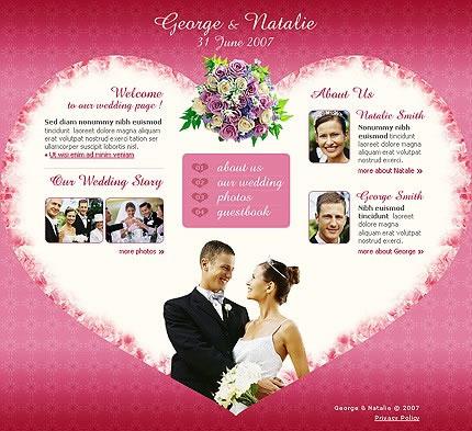 Heart Theme Flash Wedding Website