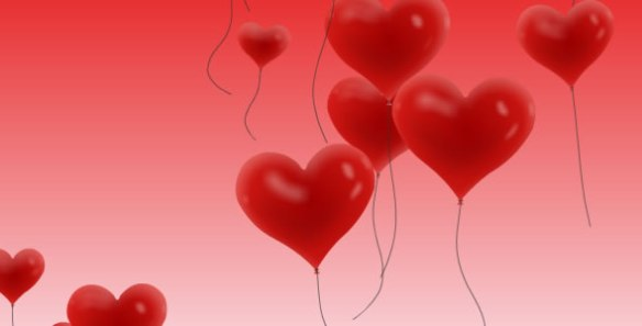 Flying heart balloons with depth and blur effect