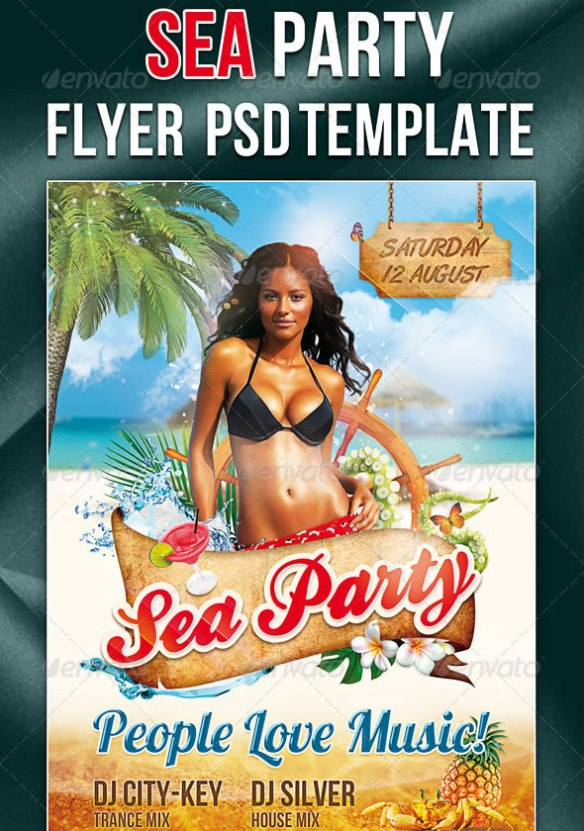 Sea Party Flyer/Poster PSD Template