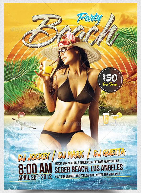 Beach Party A5 Flyer Template