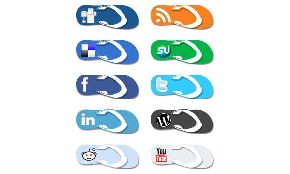Flip Flop Social Media Icons
