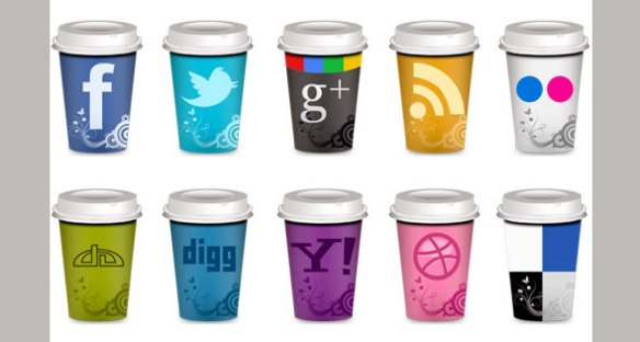 """Set of Social Icons """"Takeout Coffee Cup"""""""