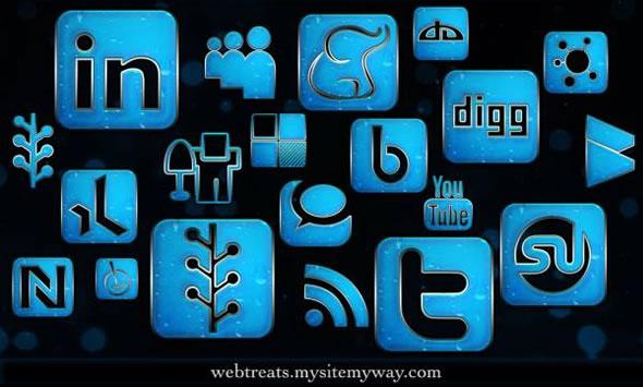 154 Blue Chrome Rain Social Networking Icons