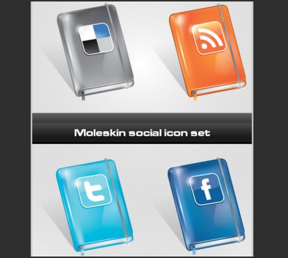 Social icon set moleskin style