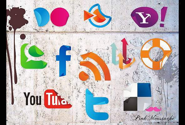 New free social icons sticker set!