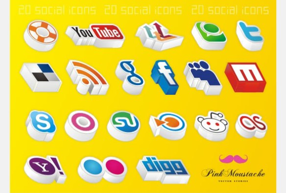20 Amazing 3D social icons!