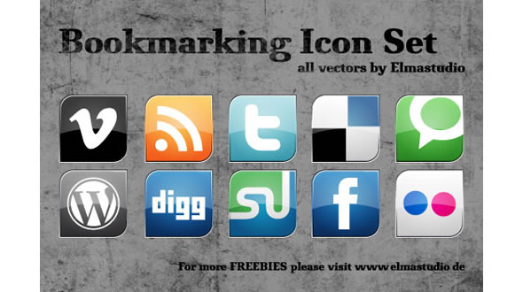Social Bookmarking Vektor-Icons