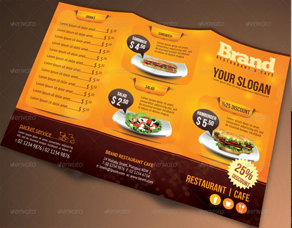 Trifold Brochure Restaurant Cafe Menu PSD Template