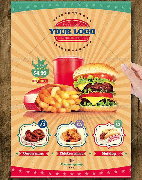 Fast Food Flyer Menu Restaurant A4