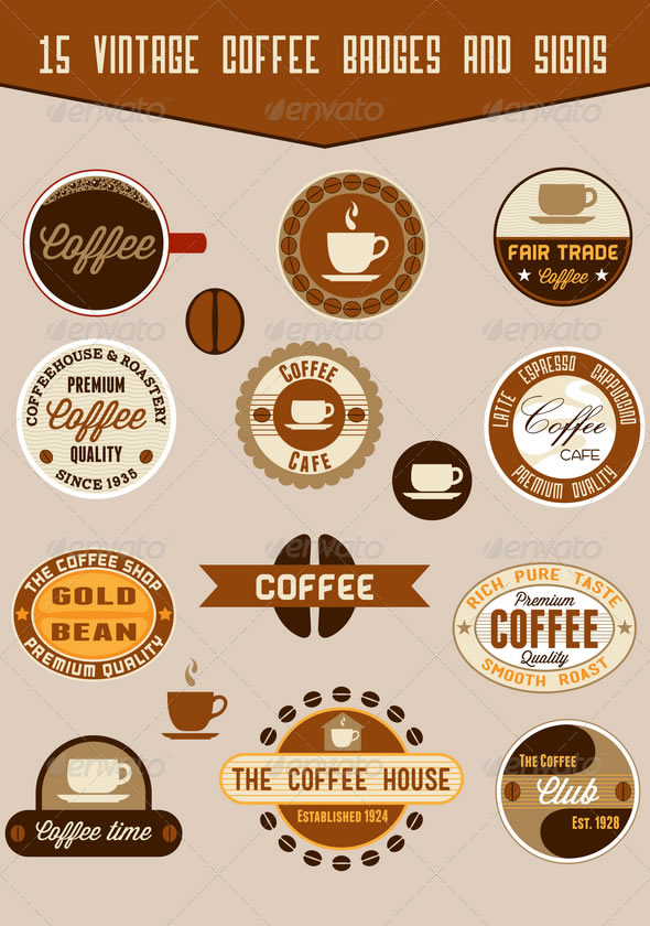15 coffee badges and signs