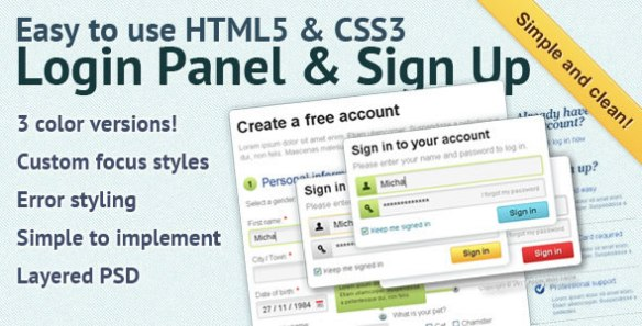 Easy to use HTML5 & CSS3 Login Panel