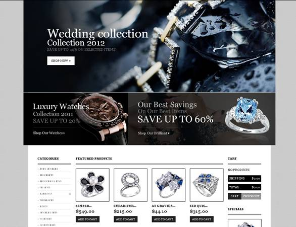 Diamond & Jewelry Store PrestaShop Template With Homepage Slideshow Animation
