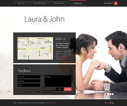 Single Page Wedding Website Template Design With Photo Gallery