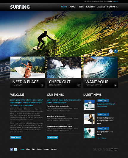 Surfing Club Drupal Template