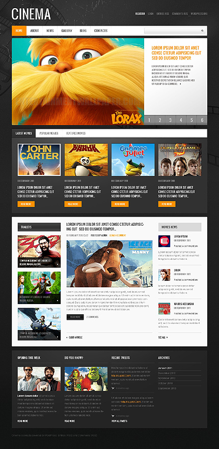 Cinema Films WordPress Theme