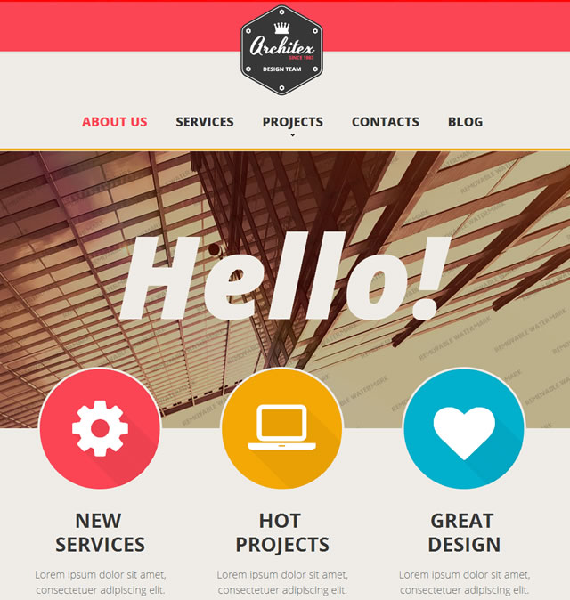 Template 47150 - Architecture Responsive Website Template with Homepage Slider, Geometric Shapes
