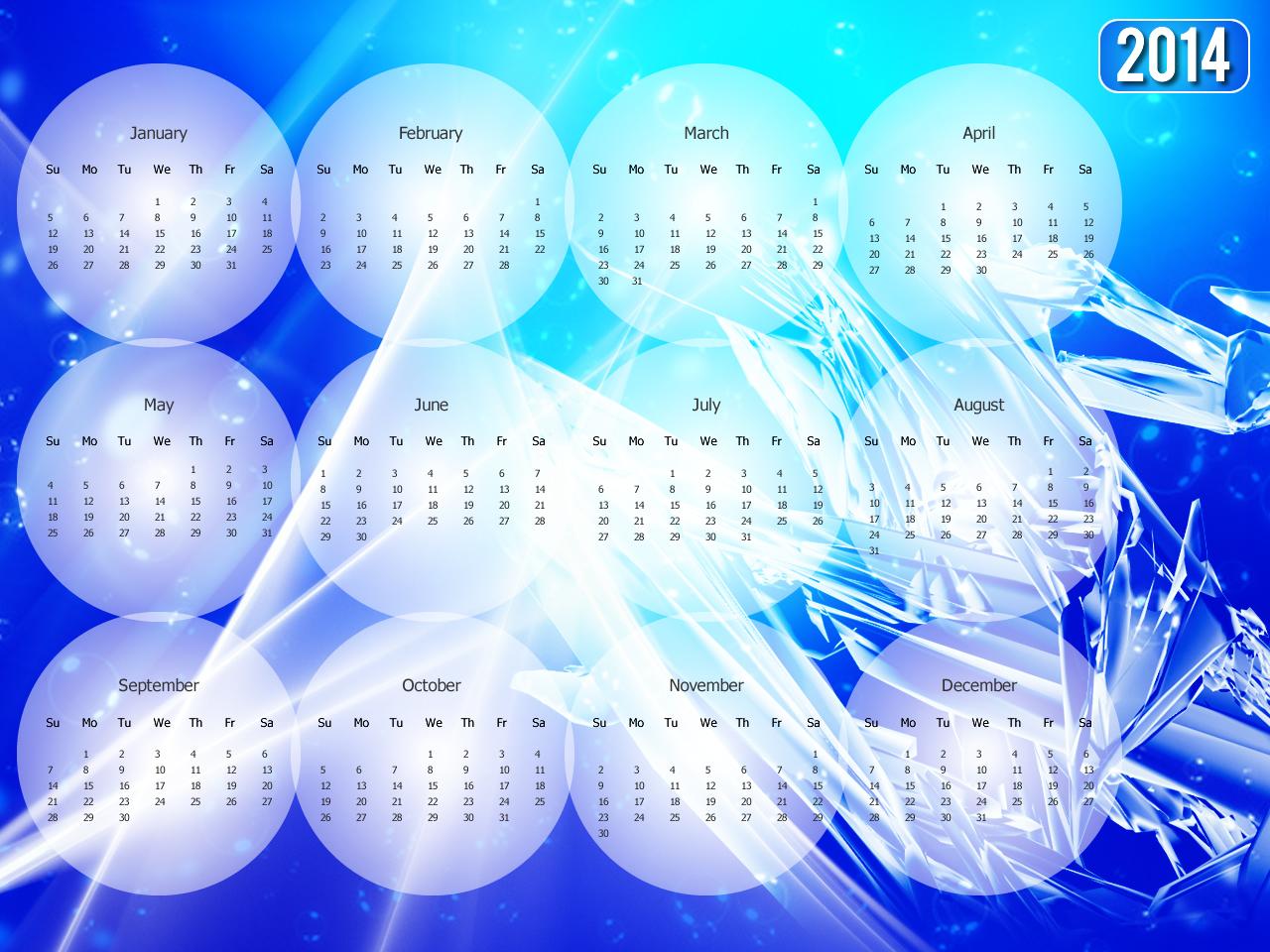 New Year 2014 Desktop Wallpaper Calendar