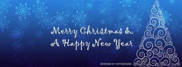 Christmas Tree Facebook Timeline Cover With Snow Flakes in Blue Background