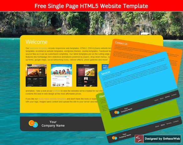 Free Single Page HTML5 Website Template
