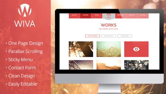 Wiva One Page Flat Parallax Muse Template