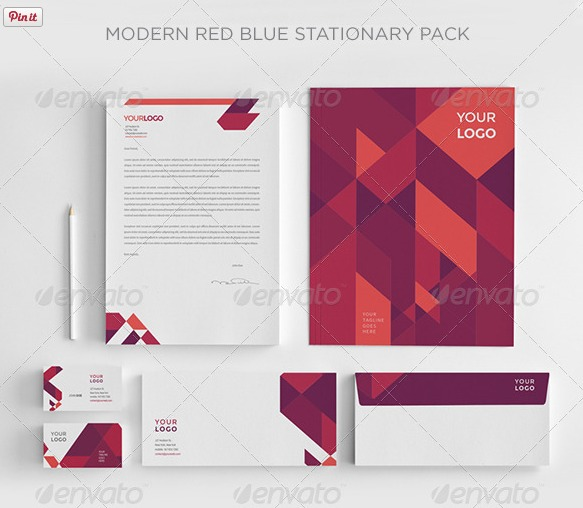 Print Templates Modern Red Blue Stationery
