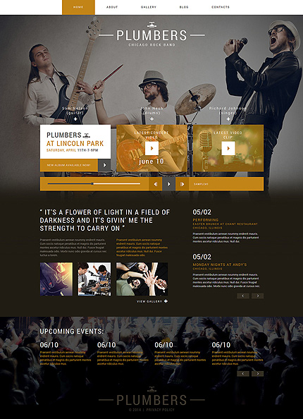 Template 50601 - Rock Band Responsive Joomla Template