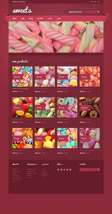 Template 48005 - Sweets Candy Responsive Magento Theme