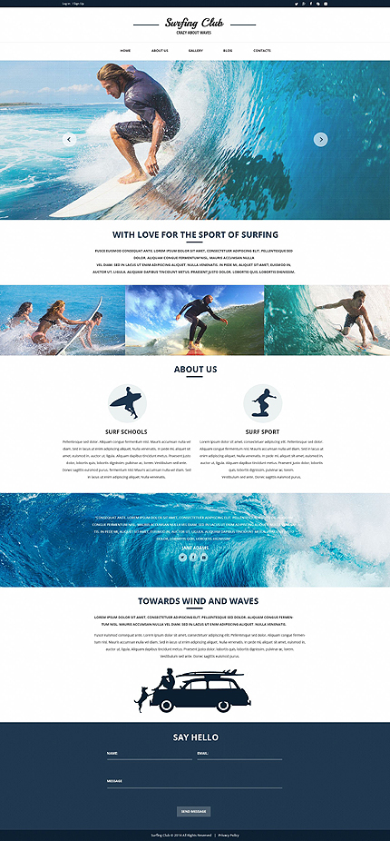 Surfing Club Responsive Website Template with Slider and Gallery