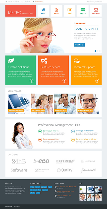 Template 48080 - Business Responsive Joomla Template with Slider, Gallery and Blog