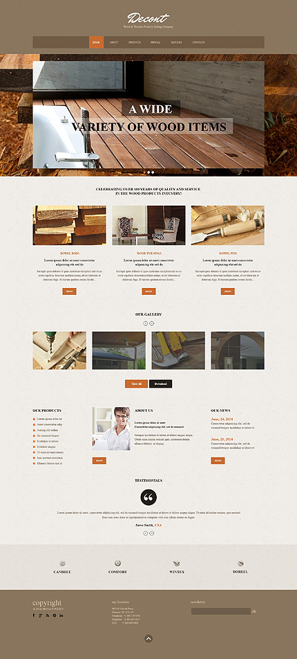 Template 49557 - Woodwork Products Responsive Website Template with Carousel and Slideshow