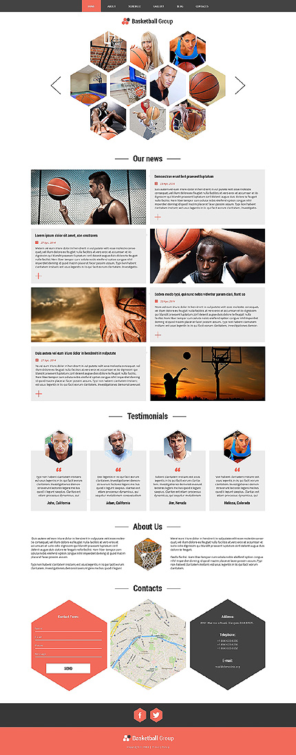 Template 51222 - Basketball Group Responsive Joomla Template with Blog, Forum and Gallery