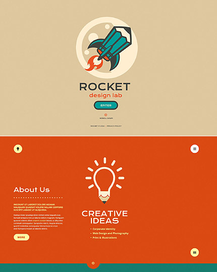 Template 52071 - Rocket Design Website Template with Bootstrap, Slider, Animations, Illustrations and Gallery