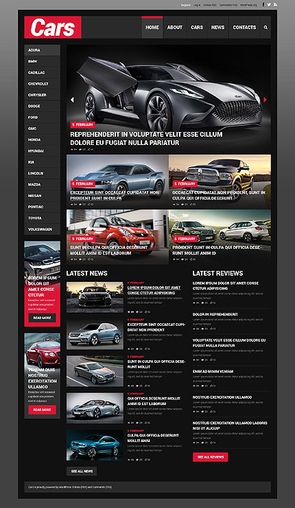 Template 52085 - Cars Responsive WordPress Theme with Slider, Gallery, Blog and Hover Effect