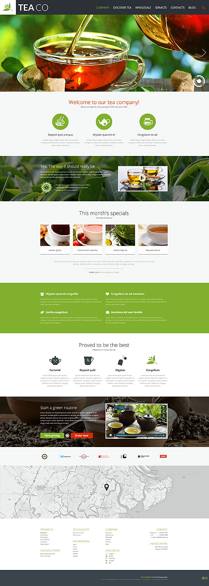 Template 52093 - Tea Company Responsive Website Template with Slider, Video, Icons and Animations