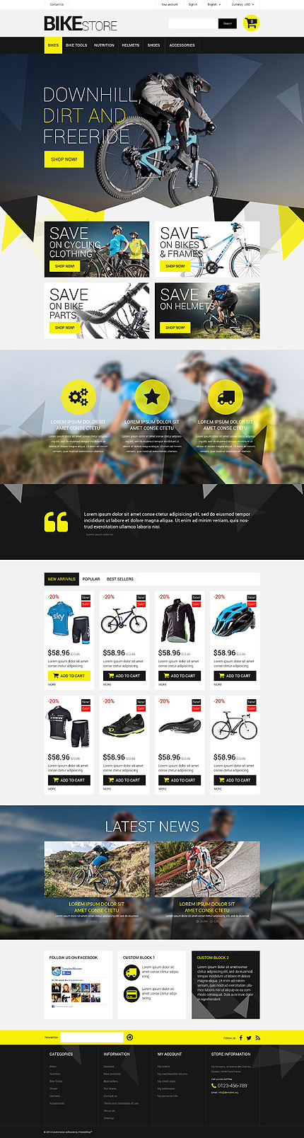 Template 52283 - Bikes Store Responsive PrestaShop Theme, Triangle Design, Lazy Load, Slider, Product Slideshows with Image Zoom, Animated Custom Blocks and Blog