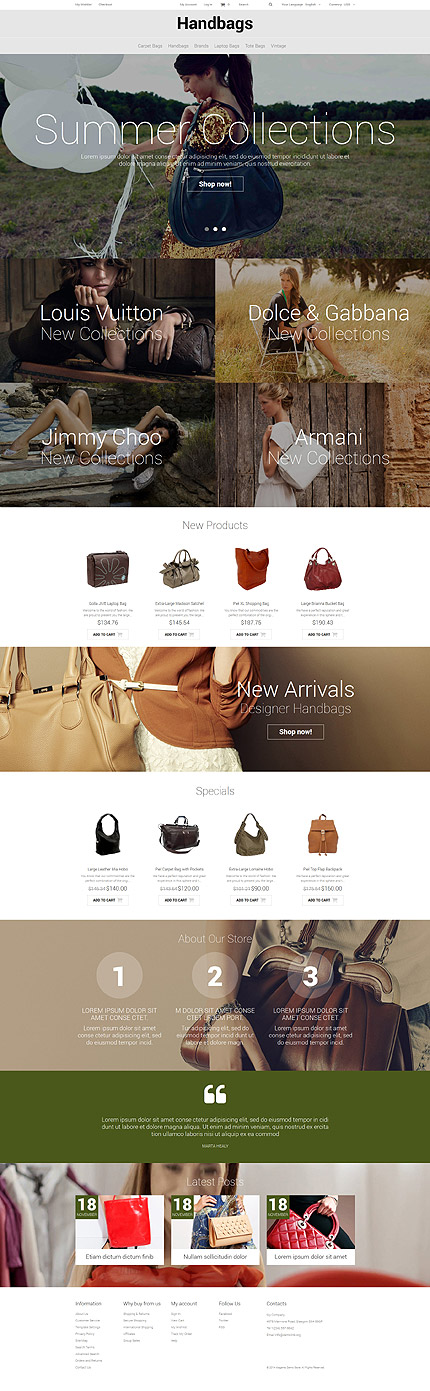 Template 52324 - Handbag Boutique Responsive Magento Theme with Slider, Background Video, Hover Effects