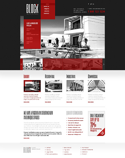 Template 44914 - Architecture Responsive Website Template in Red and Black with Slider and Gallery