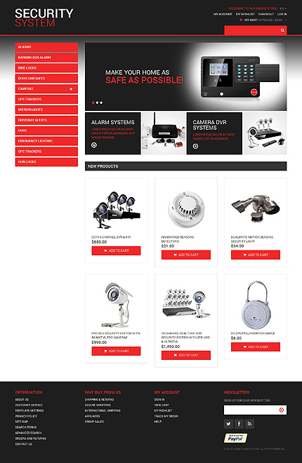 Template 48278 - Security System Responsive Magento Theme with Slider, Product Slideshows and Image Zoom