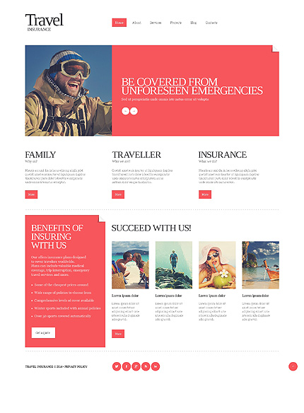 Template 51150 - Travel Insurance Responsive Website Template with Slider, Gallery and Blog