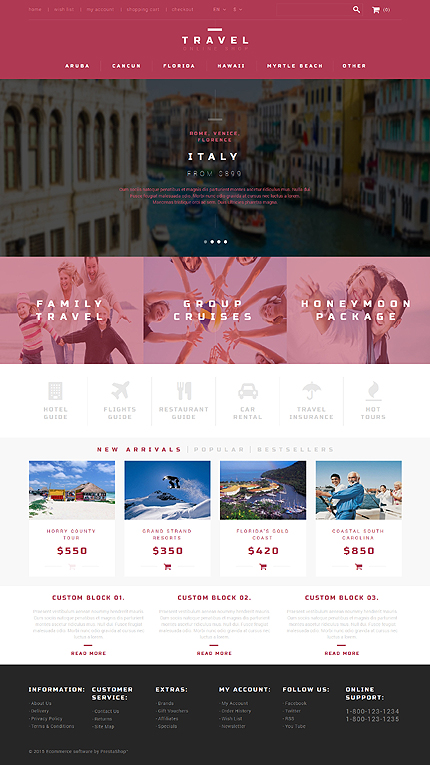 Template 52916 - Travel Store Responsive PrestaShop Theme with Slider, Gallery and Blog