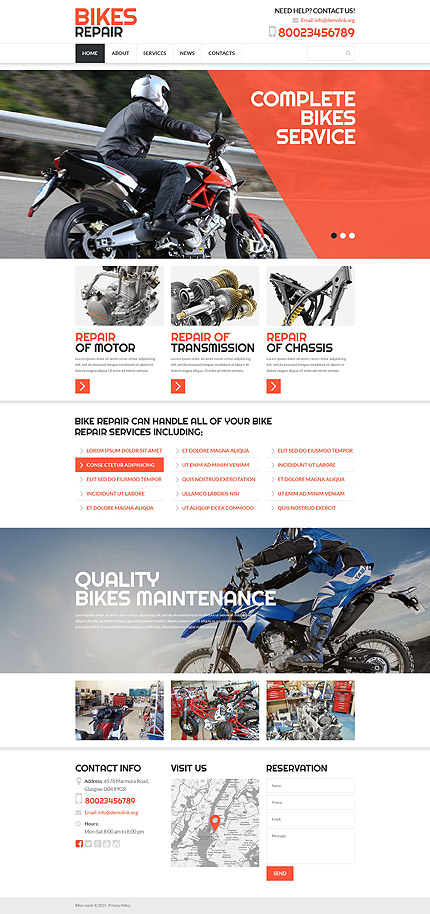 Template 52978 - Bikes Repair Responsive Website Template with Slider, Blurred Background, Parallax and Lazy Load
