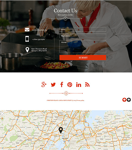 Footer for Template 52601 - Cafe and Restaurant Muse Template