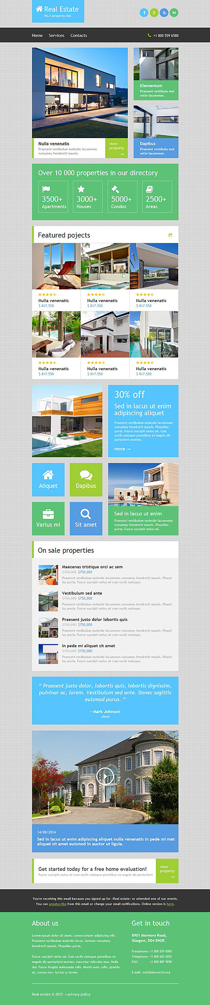 Template 52885 - Real Estate Responsive Newsletter Template