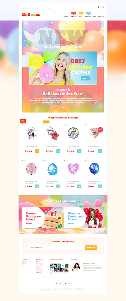 Template 53890 - Balloons Responsive WooCommerce Theme with Parallax, Gallery and Blog