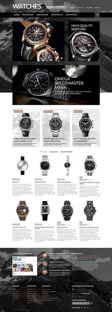 Template 51800 - Watches Online Responsive PrestaShop Theme with Slider, Carousel, Newsletter, Forms